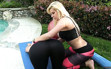 Workout in the garden ends up with crazy lesbian sex on the couch