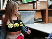 Shoplifting chick Blair Williams gets her pussy and mouth punished in the back room