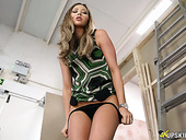 Salacious British porn model Natalia Forrest shows her captivating pussy upskirt