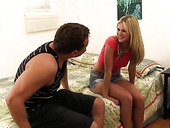 Lascivious blond GF Scarlet Red gets her slit rammed hard by sex-hungry boyfriend