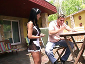 Fucking hot maid in sexy uniform Black Angelica serves her man like nobody else before