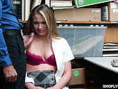 Shotlifting blondie Alyssa Cole gets her pussy punished in the back room