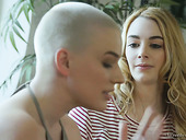 Bald headed dyke Riley Nixon finger fucking and licking tasty GF's pussy