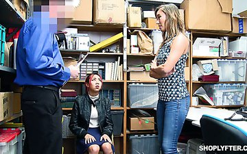 Slutty milf Christy Love is fucked in the back room in the presence of her shoplifting stepdaughter
