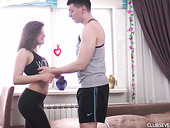Hot workout with pretty hot teen Evelina Darling who likes it harder