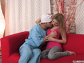 Kinky doctor fucks awesome teen Klara B and makes her pussy stretched