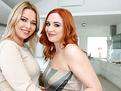 Red haired Russian milf Eva Berger takes part in steamy threesome clip
