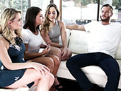 Three horny babes fuck one sex-hungry dude and eat his sperm