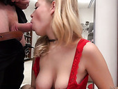 Cum-thirsty Czech blonde in shorts Taylor Moda is face fucked by one horny dude