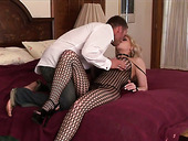 Trashy looking blonde in crotchless fishnets Candy gets her muff rammed