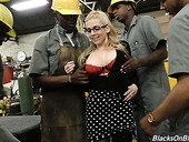 Crazy black dudes fuck blonde in glasses Christie Stevens and cum on her face