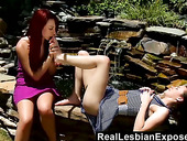Salacious lesbian babes enjoy fucking and licking each others snatches