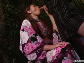 Beautiful Asian babe in kimono Kana Suzuki gives the best ever yum-yum blowjob