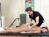 Posh client Mercedes Carrera is fucked by handsome young masseuse