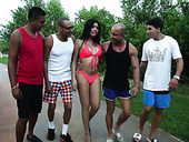Shemale Taiira Navarrete is fucked by several hot blooded studs