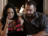 Bodacious babe Sheena Ryder is making love by the fireplace