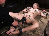 Tied up hoe Sammie Six will never forget a crazy vibrator and long stick
