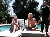 Delicious Chloe Foster and yummy babe Else Lean suck a dick by the poolside