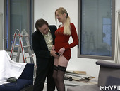 Leggy secretary in red dress Kitty Blair is fucked by hot blooded boss