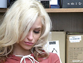 Shoplifting blonde Kiara Cole gets her muff punished in the back room