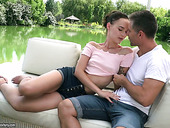 Beautiful Russian babe Sasha Sparrow is fucked by hunky bartender