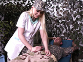 Military nurse Lola Taylor gets intimate with one handsome soldier
