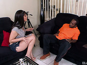 Killing hot milf Miss Raquel seduces black friend of her son