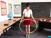 Naughty student Kate-Anne is hula hooping and stripping