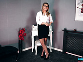 Slutty secretary Sophie Star takes off her clothes and shows off her twat