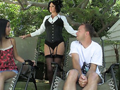 Kinky stepmom in corset Roxanne fucks stepson's girlfriend with strapon