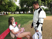 Dude in stormtrooper costume picks up sweet looking teen Zoe Doll