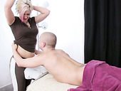 Professional masseuse Vanessa gives a blowjob and titjob