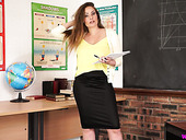 Hot teacher Sophia Delane takes off her clothes and masturbates on the table