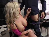Palatable hooker Rachele Richey gets double penetrated in hot FFM strapon scene