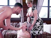 Mature Dee Williams and her steps on fuck one beautiful babe with a ball gag