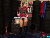 Nasty blonde Louise shows striptease in the tire shop
