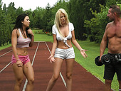 Skilled womanizer fucks two super juicy and big tittied babes after jogging