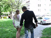 Yummy Russian teen Sabrina Blanc is picked up and fucked in her tight anal hole