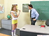 Whorish red haired student Faye Reagan gets intimate with her handsome teacher