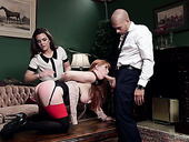Red haired whore Penny Pax and her nasty assistant are fucked by one bald headed pervert