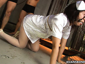 Bondage Asian babe Kana Sato gets her pussy toyed by several dudes