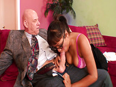 Old fart enjoys fucking bodacious big tittied young chick Jasmine Lopez