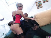 Classy whore in latex Patricia licks sperm off black dude's tummy