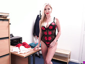 Breath taking British milf Georgie Lyall poses in new sexy red lingerie
