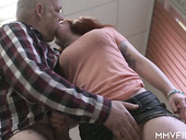 Red haired hooker with big tits Dana gets intimate with one old fart
