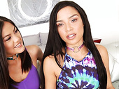 Horny lesbian Maya Bijou is dildo fucking anus of sweet looking roomie