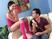 Pigtailed young brunette Izzy Champagne is fucked by hot blooded dude