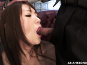 Nasty Japanese chick Rina Serizawa gets her pussy toyed and stretched