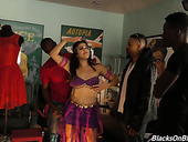 Black dudes fuck sexy belly dancer Monica Sage and cum on her face