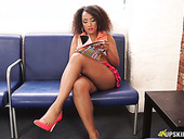 Ebony chick Kayla Louise spreads legs wide open and teases with her yummy pussy upskirt